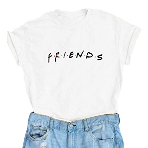 Friends T Shirt Womens Short Sleeve Letter Print Graphic Tee Tops I'll Be There for You Shirts (X-Large, (Best Shac Friend Graphic Tees)