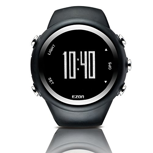 EZON GPS Sports Watch Outdoor with Distance Pace Alarm and Calorie Counter for Men T031A01 Black by EZON