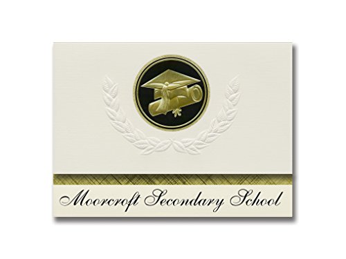 Signature Announcements Moorcroft Secondary School (Moorcroft, WY) Graduation Announcements, Presidential style, Elite package of 25 Cap & Diploma Seal. Black & Gold.