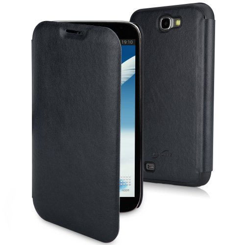 BoxWave Samsung Galaxy Note 2 SlimFlip Leather Case - Slim, Snap-Fit Hard Case with Soft Leatherette and Stylish Front Flap - Samsung Galaxy Note 2 Cases and Covers (Navy Blue)