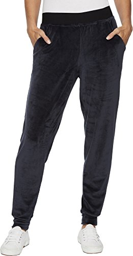 HUE Women's Velour Track Pants Navy X-Large