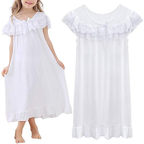 BOOPH Girls Nightgown, Summer Toddler Sleep Dress Princess Nightwear for Girls White 8-9Y