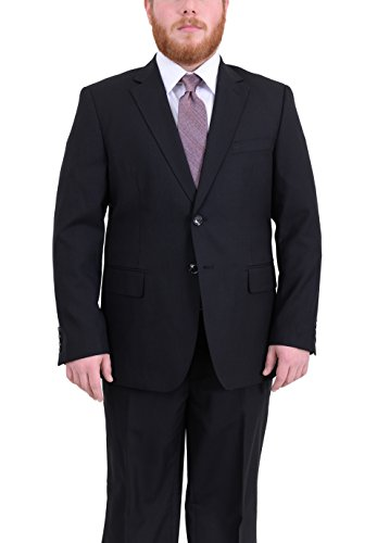 Arthur Black Portly Fit Black Tonal Striped Two Button Wool ()