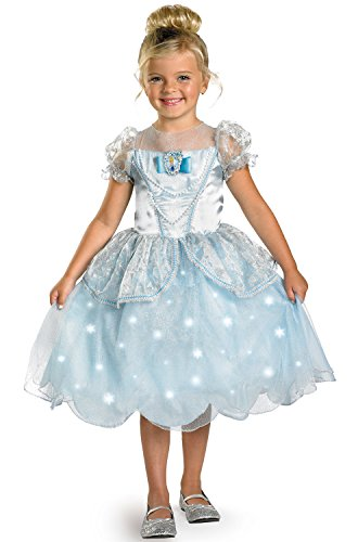 Disney Princess Cinderella Light Up Deluxe Costume, Blue, Medium