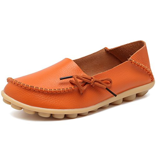 Women Leather Shoes Color Flats Slip On Loafers Orange - 5