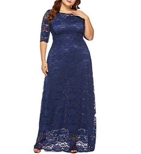 Eternatastic Womens Floral Lace 2/3 Sleeves Maxi Dress Evening Party Long Dress XXL Deep Blue