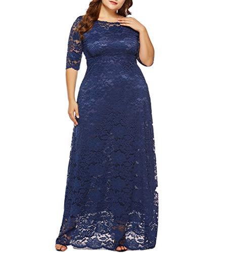 7bf1e768866 Eternatastic Womens Floral Lace 2 3 Sleeves Maxi Dress Evening Party Long  Dress 3XL Deep