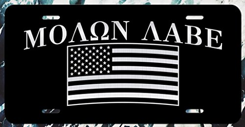 JMM Industries Molon Labe American Flag USA Car Vanity Novelty License Plate Tag Come and Take It Metal 6-Inches by 12-Inches Etched Aluminum UV Resistant ELP090