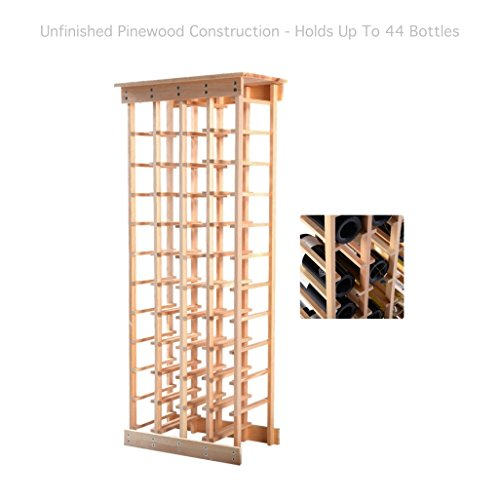Pine Wood Wine Racks 44 Bottle Holder Storage Dining Room Kitchen Home Display Space-Efficient Storage Solid Construction Natural Finish #1801