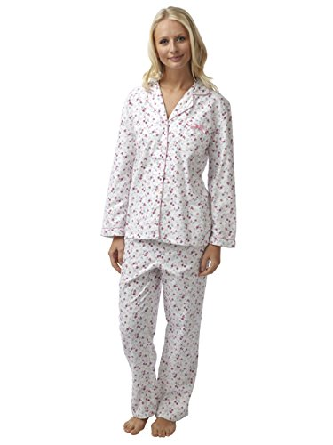 SaneShoppe - Pijama - Floral - con botones - Manga Larga - para mujer Rosa Blanca