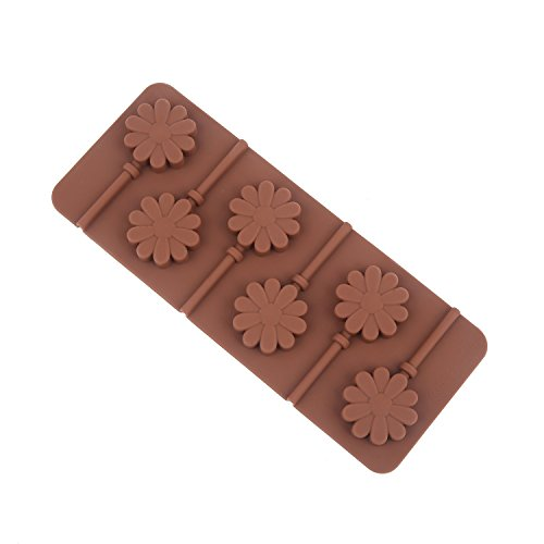 Adecco LLC Silicone Hard Candy Lollipop Molds with Sticks DIY 3D Chocolate Fondant Mould for Cake Decorations (Flower)
