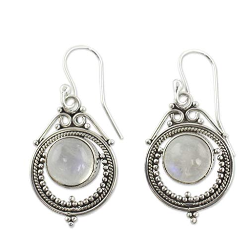 (XBKPLO Moonstone Earrings for Women's Vintage Gemstone Dangle Hook Stud Personalized Jewelry Gifts)