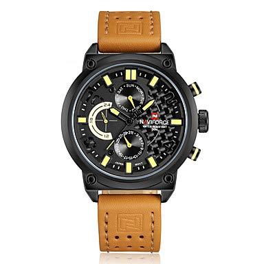 XKC-watches herrklockor, män sportklocka militärklocka armbandsur japansk kvarts kalender vattentät läderarmband cool svart orange märke apelsin