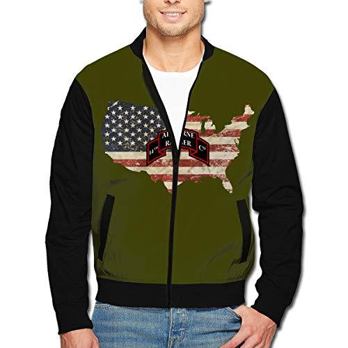 (14 Airborne Ranger Battalion Men's Full-Zip Jacket Light Weight Bomber Jacket Hoodie)