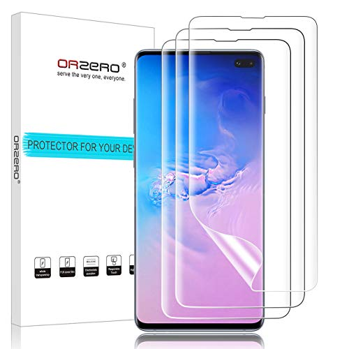 [3 Pack] Orzero Compatible For Samsung Galaxy S10 Plus / S10+ 2019 HD [Premium Quality] [No Affect On Fingerprint Scanner] [Full Coverage] Screen Protector, Bubble-Free [Lifetime Replacement Warranty]
