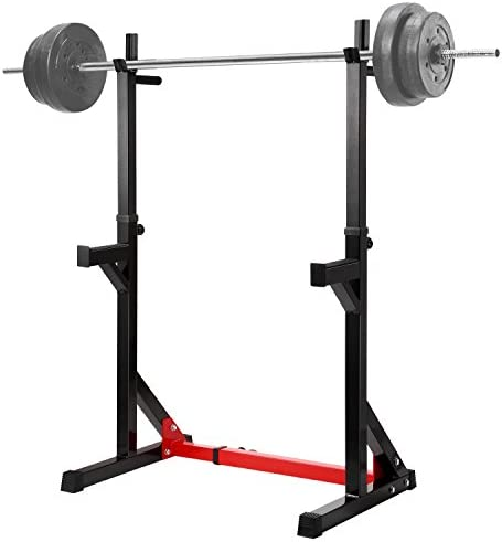 """Ollieroo Multi-Function Barbell Rack Dip Stand Barbell Stand Weight Lifting Rack Gym Family Fitness Adjustable Squat Rack Weight Lifting Bench Press Dipping Station, Height Range 40.6"""" to 64.2"""""""