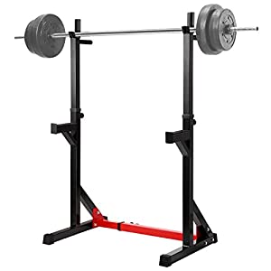 "Ollieroo Multi Function Barbell Rack Dip Stand Gym Family Fitness Adjustable Squat Rack Weight Lifting Bench Press Dipping Station, Height Range 40.6"" to 64.2"""