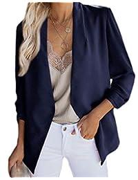 MOUTEN Womens Business Stylish Pockets Open Front Plain Blazer Suit Jackets