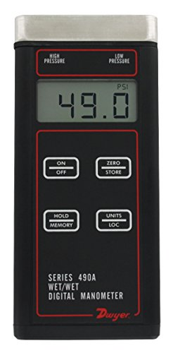 490A-6-NIST Dwyer Wet/Wet Handheld Digital Manometer with NIST, 0 to 200 psi (0 to 1379 kPa) by Dwyer