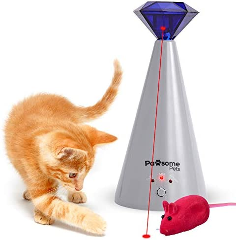 Pawsome Pets Automatic Laser Cat Toy with Free Bonus Squeaky Cat Toy Mouse   Pet Laser Pointer for Cats   Interactive Cat Chase Toys   3 Speed Modes   Auto Lazer Shut Off 2