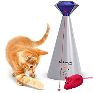 Pawsome Pets Interactive Laser Cat Toy - Automatic Rotating Laser Pointer for Kittens/Dogs, 3 Speed Modes - Great for Pet Exercise - Electronic Cat Toys for Indoor Cats - Includes Bonus Mouse Toy