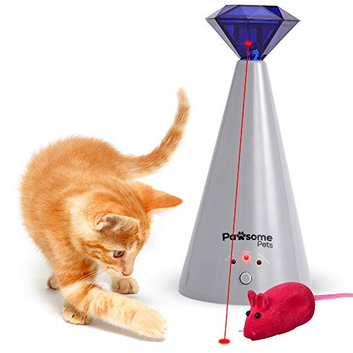 Pawsome Pets Interactive Laser Cat Toy – Automatic Rotating Laser Pointer for Kittens / Dogs, 3 Speed Modes – Great for…