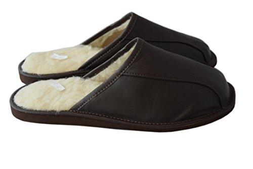 Natur Rindsleder und Schafwolle schwarz braun Herren Slipper Schuhe Mule Brown / white wool