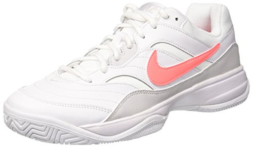 Nike Women's Court Lite Tennis Shoe, White/Lava Glow-Vast Grey, 6