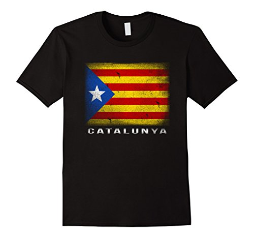 Catalan Flag (Mens Catalan Flag T-shirt Catalunya Catalonia Medium Black)