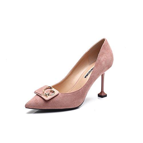 Los zapatos de tacón alto-punta con la versión coreana de la compacta y versátil broche boca superficial solo zapatos Pink
