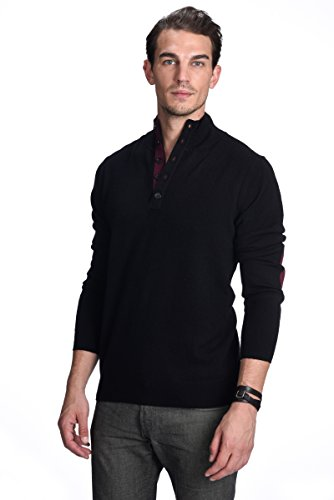 Button Mock Sweater - State Cashmere Men's 100% Pure Cashmere Button Mock-Neck Polo Collar Sweater Pullover (Large, Black)