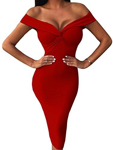BEAGIMEG Women's Sexy Draped V Neck Off Shoulder Bodycon Midi Party Dress Red