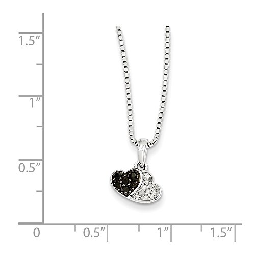 Sterling Silver Black & White Diamond Pendant. Total Carat Weight- (0.15 Total Carat Weight)