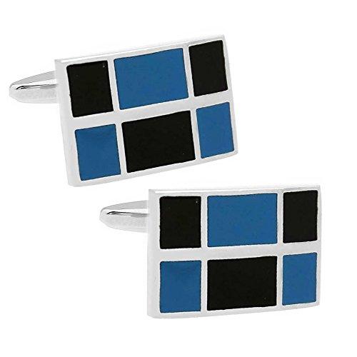 Blue & Black Mosaic Square cufflinks