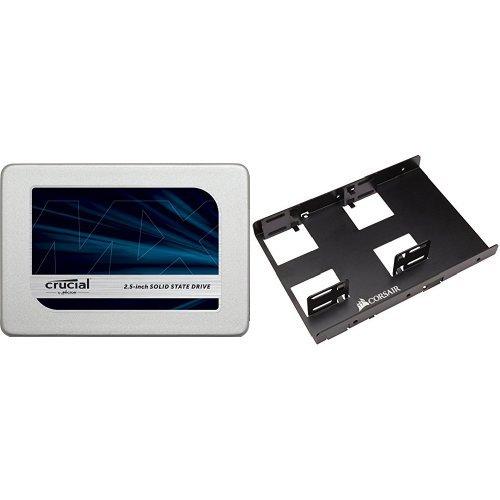Crucial MX300 2TB SATA 2.5 Inch Internal Solid State Drive - CT2050MX300SSD1 & Corsair Dual SSD Mounting Bracket 3.5