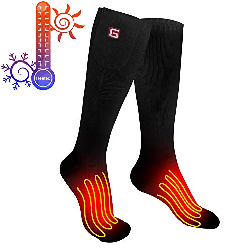 Greensha Rechargeable Electric Heated Socks Cold Weather Thermal Heated Sox With 3 Levels Temperature Control For Chronically Cold Feet, Indoor Or Outdoor Activities