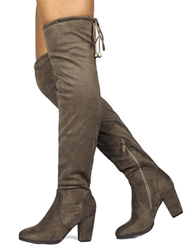DREAM PAIRS Frauen Oberschenkel High Fashion Overknee Oberschenkel High Block Heel Stiefel Khaki