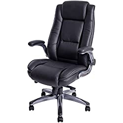 KADIRYA High Back Bonded Leather Executive Office Chair - Adjustable Recline Locking Mechanism,Flip-up Arms Computer Desk Chair,Thick Padding and Ergonomic Design for Lumbar Support-Black(Gloves Gift)