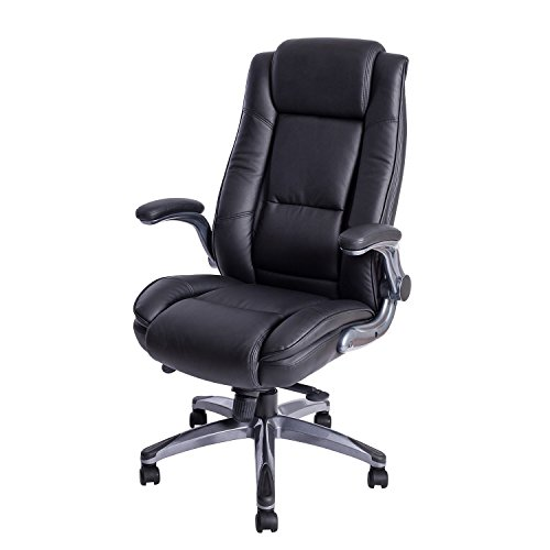 Back Adjustable Leather - KADIRYA High Back Bonded Leather Executive Office Chair - Adjustable Recline Locking Mechanism,Flip-up Arms Computer Desk Chair,Thick Padding and Ergonomic Design for Lumbar Support-Black(Gloves Gift)