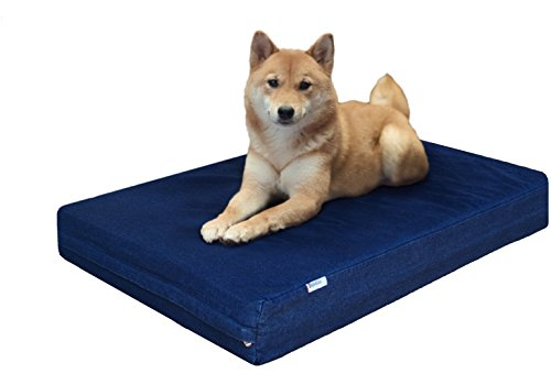 Dogbed4less Durable Orthopedic Memory Foam Pet Bed with Waterproof Internal Case + 2 Washable Denim External Cover for Small to Medium Large Dog