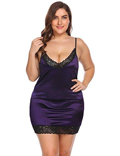 Vansop Women Sexy V-Neck Lace Stretchy Satin Babydoll Chemise Plus Size Sleepwear Dress (Size Plus Dresses Satin)