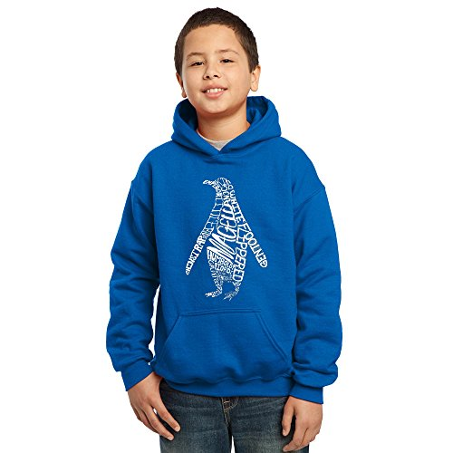 Los Angeles Pop Art Boy's Word Art Hooded Sweatshirt - Penguin- LA Pop Art Penguin Kids Hoodie