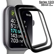 Apple Watch Tempered Glass Screen Protector for Watch 38mm Series 1 2 3(2Pack) 3D Tempered Glass Full Coverage Scratch Resistant Waterproof Screen Film Compatible Watch 38mm
