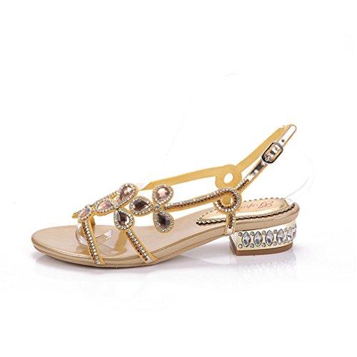 Soirée Pour Sandales Flat Dames Cristal Filles Plage Femmes D'été Toe Sandales Chaussures Sexy Peep De Talon Sandales Bohème Golden Low SIEUqEv