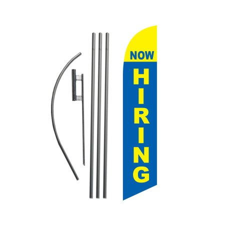 Now Hiring Flag | 15ft Feather Banner Swooper Flag Kit | Includes 15ft Flag Pole & Ground Stake