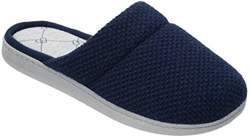 Dearfoams Womens Texture Knit Scuff Slippers Large Peacoat Navy Blue (Navy Blue Peacoat)
