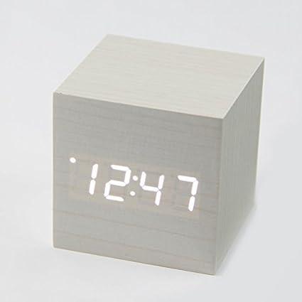FYios Reloj Digital Control De Sonido Digital Despertador Reloj Led De Madera Simple Moda Reloj Alarma