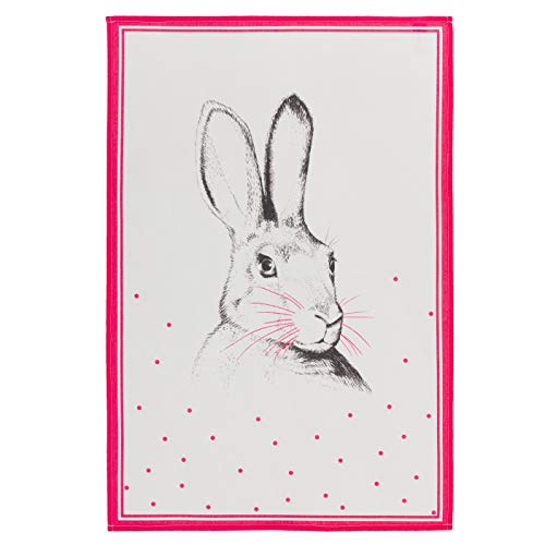(COUCKE French Cotton Towel, Lapin (Rabbit) Print, 20-Inches by 30-Inches, Red)