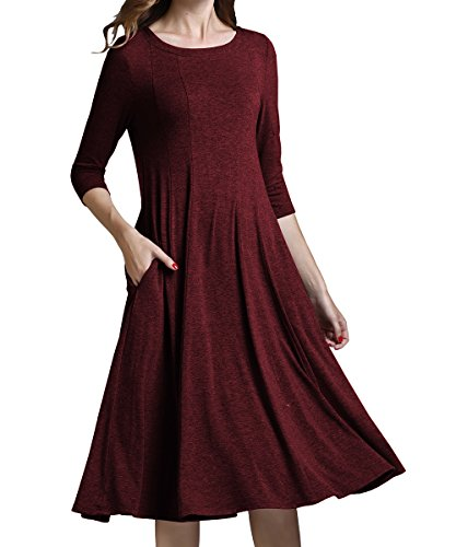 yige Women's Classic A-line Pocket Midi dress 3/4 Sleeve Knit Fit and Long Dresses Red wine-M (Knit Dress Seamed)