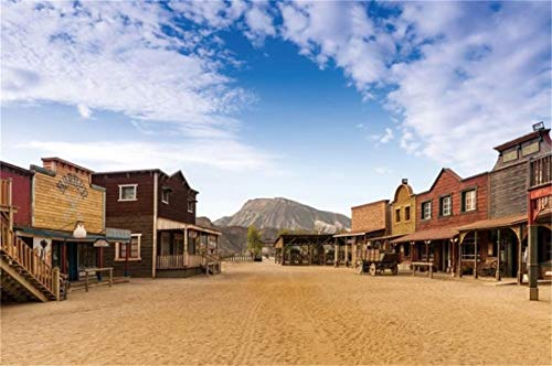 Yeele 8x6ft Western Saloon Wild Photography Background Gold Rush Blue Sky White Cloud Mountain Mini Hollywood Wesren Town Almeria Andalusia Spain Photo Backdrops Pictures Photoshoot (The Sky Was The Color Of Television)